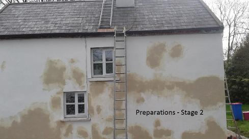 House, cottage, exterior, painting, crack repair