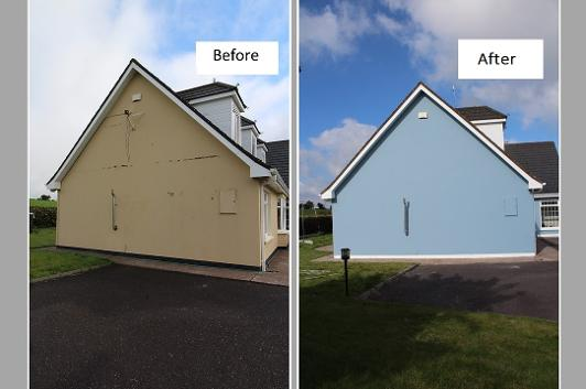 House, cracks, before and after