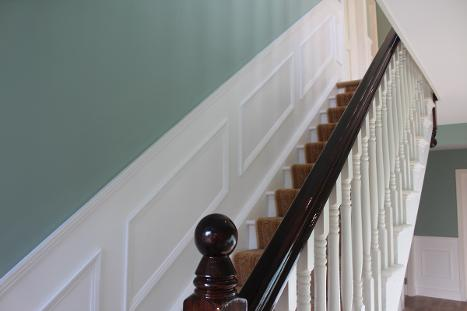 Staircase, wall panelling, green and white