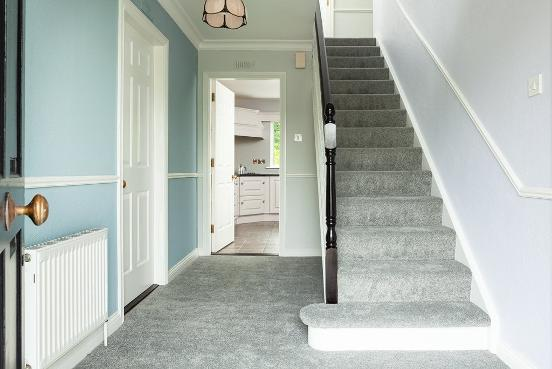 Interior painting, Hall, Staircase, blue, grey