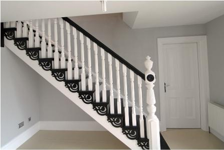 Hall, staircase, interior painting, white, black