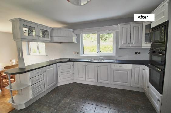 Timber kitchen painted grey