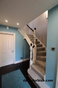 Staircase, modern, blue and white, grey
