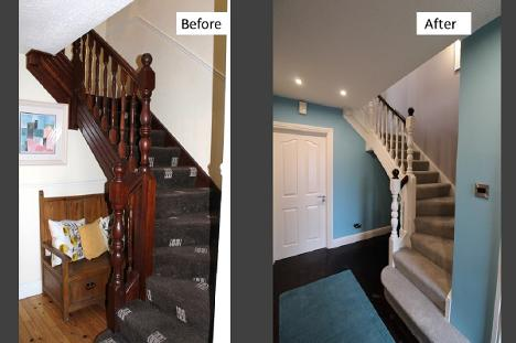 Staircase, hall, before and after